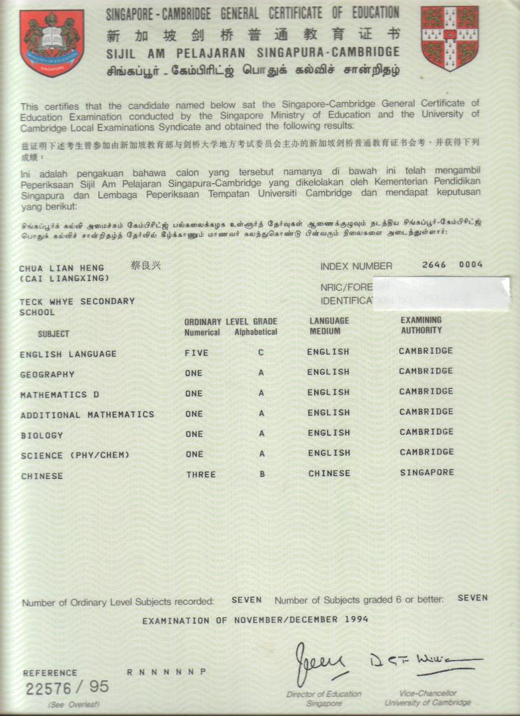 GCE O Level Results