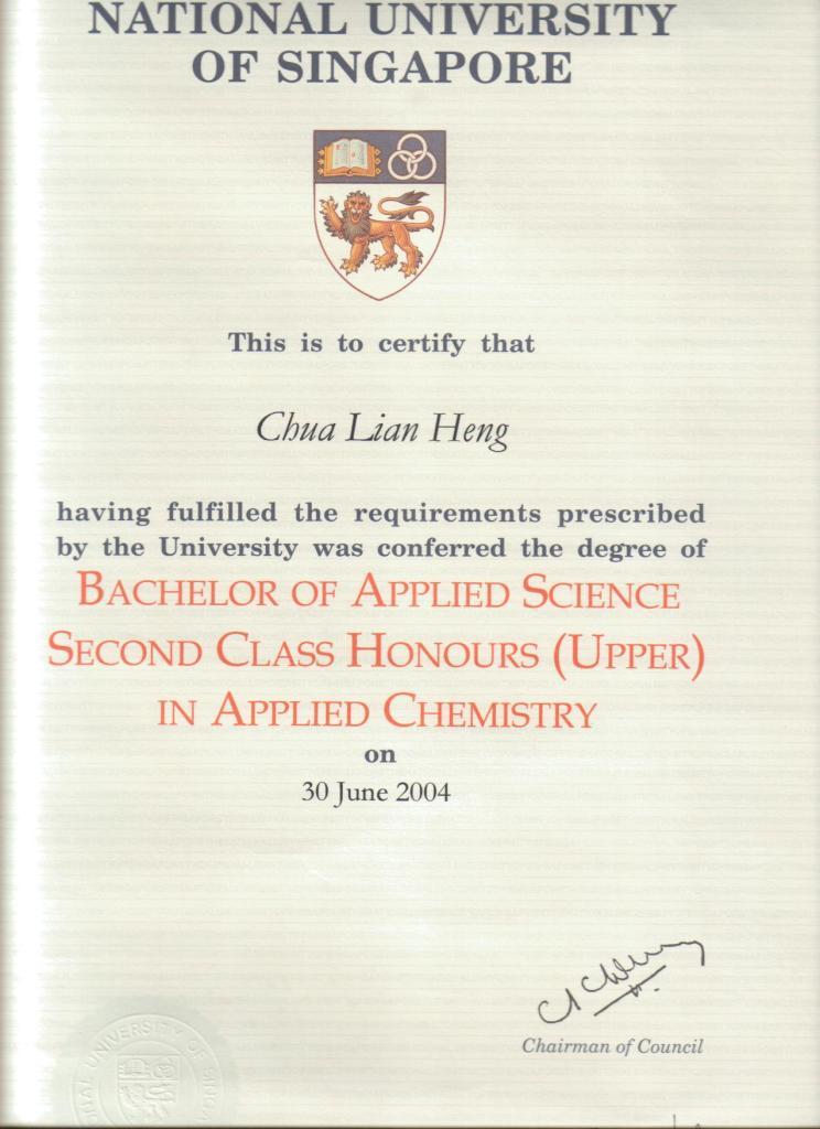 NUS Chemistry 2nd Upper Honours